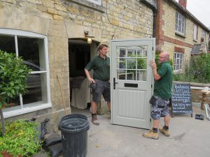 new window co, fitting team, door installation, timber door, leadenham teahouse, competition winners, lincolnshire