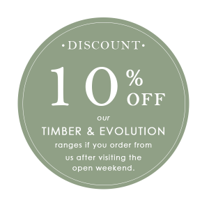 open weekend, special discount, 10% off, timber and evolution ranges, new window company