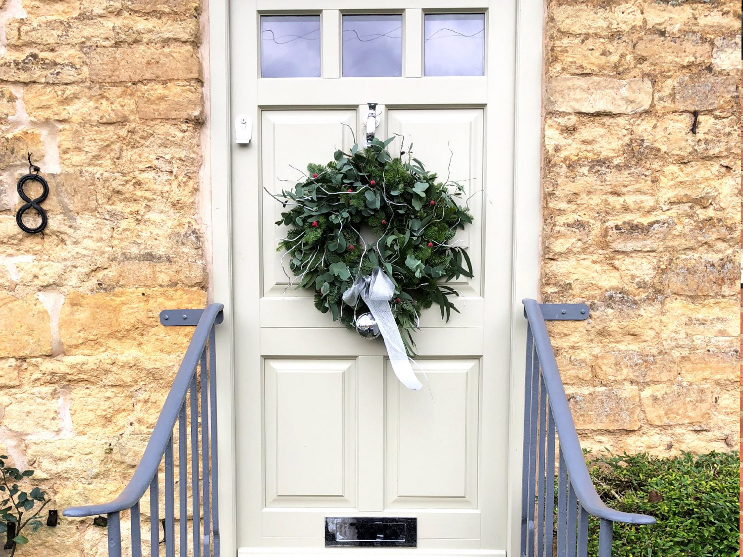 front door, timber door, christmas wreath, french grey