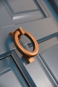 up close shot of a ring door knocker