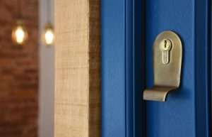 up close shot of an escutcheon with a pull on a blue door