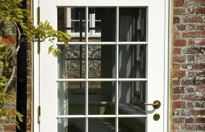 white door with external door hinges