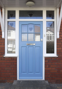 Abbotsbury Conservation Front Door - Pastel Blue with Off-White frame, new window co, virtual quote