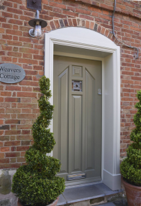 new window co, virtual quote, Norham Entrance Door - Oxford Clay with a French Grey frame.