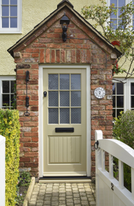 new window co, Stratfield Entrance Door - Colour complementary to Farrow & Ball 'Burnt Verdrgris' with Straw frame