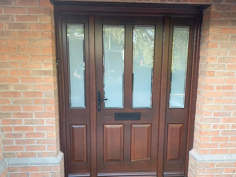 Stained Timber Front Door | Long Bennington